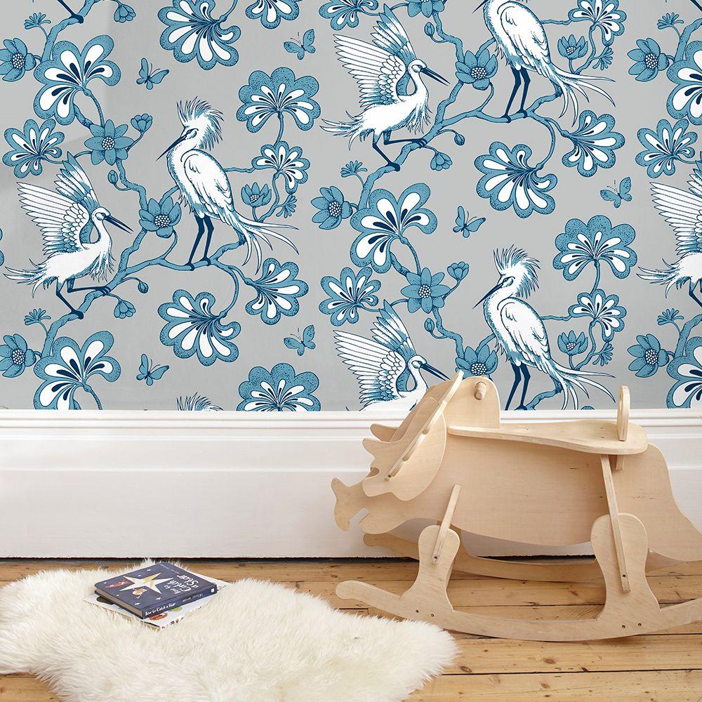 Egrets Wallpaper - Warm Grey / Blue - by Florence Broadhurst