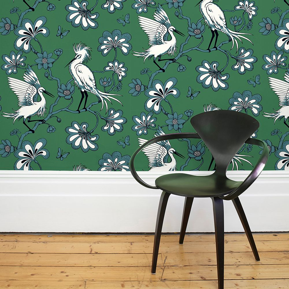 Egrets Wallpaper - Green - by Florence Broadhurst