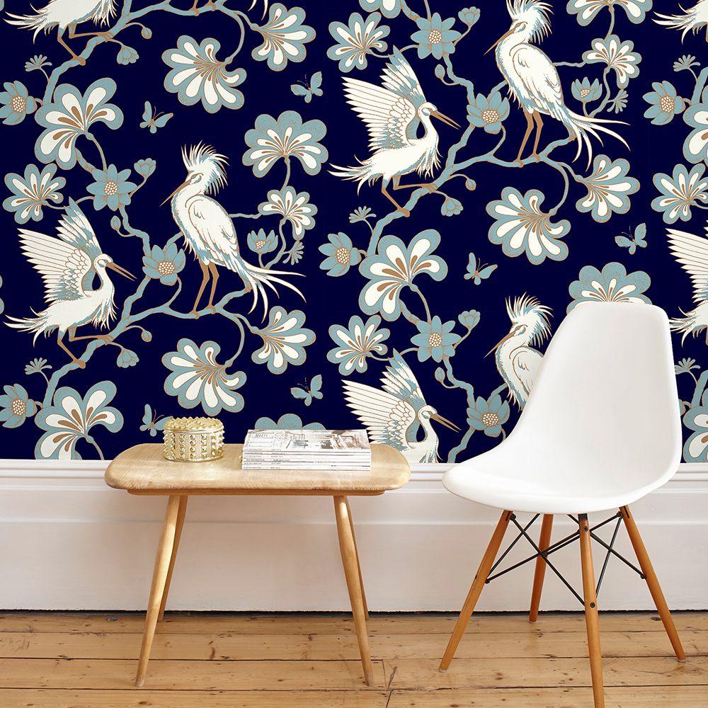 Egrets Wallpaper - Midnight Blue - by Florence Broadhurst