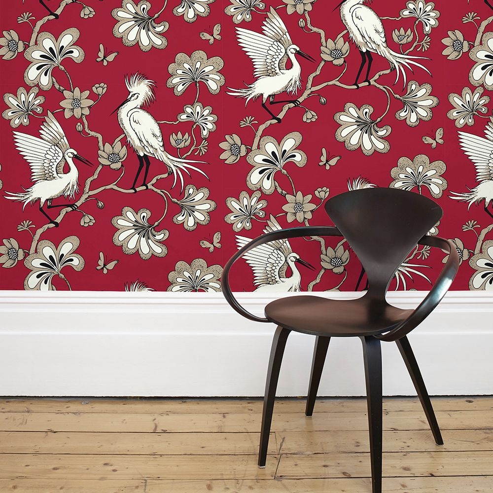 Egrets Wallpaper - Red - by Florence Broadhurst