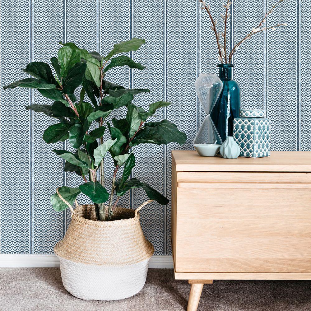 Japanese Panels Wallpaper - Blue - by Florence Broadhurst