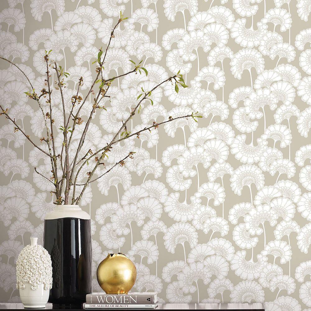 Japanese Floral Wallpaper - Bone - by Florence Broadhurst