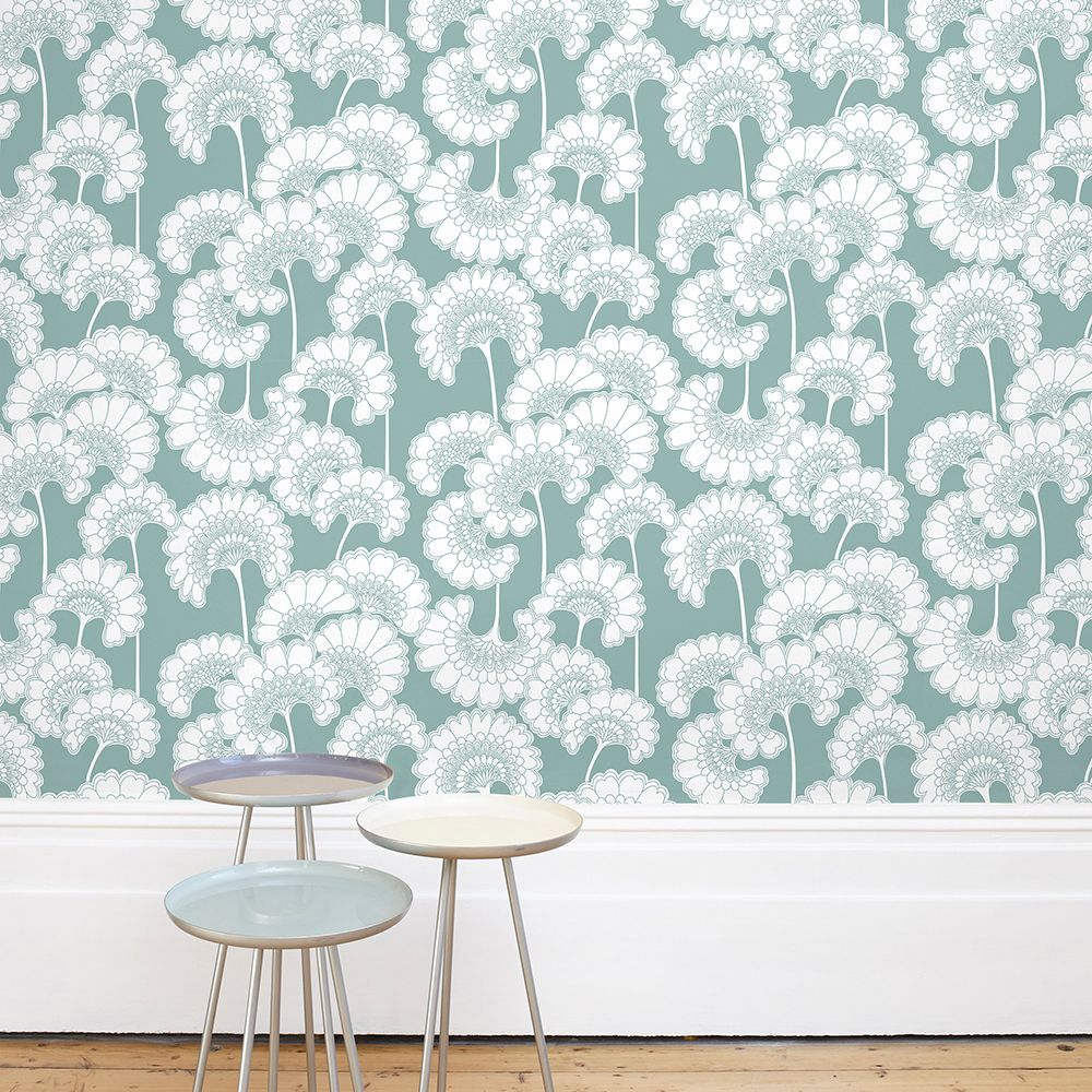 Japanese Floral Wallpaper - Pale Teal - by Florence Broadhurst