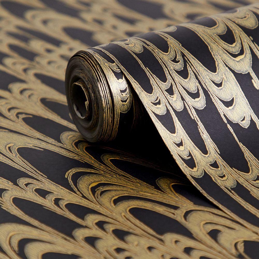 Waterjet Wallpaper - Black / Gold - by Florence Broadhurst