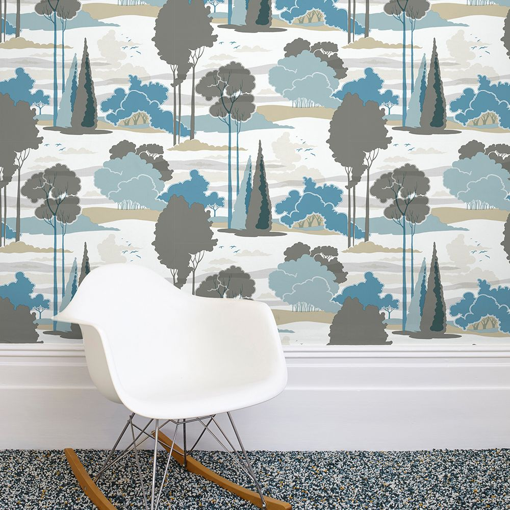 Macarthur Park Wallpaper - Blue - by Florence Broadhurst