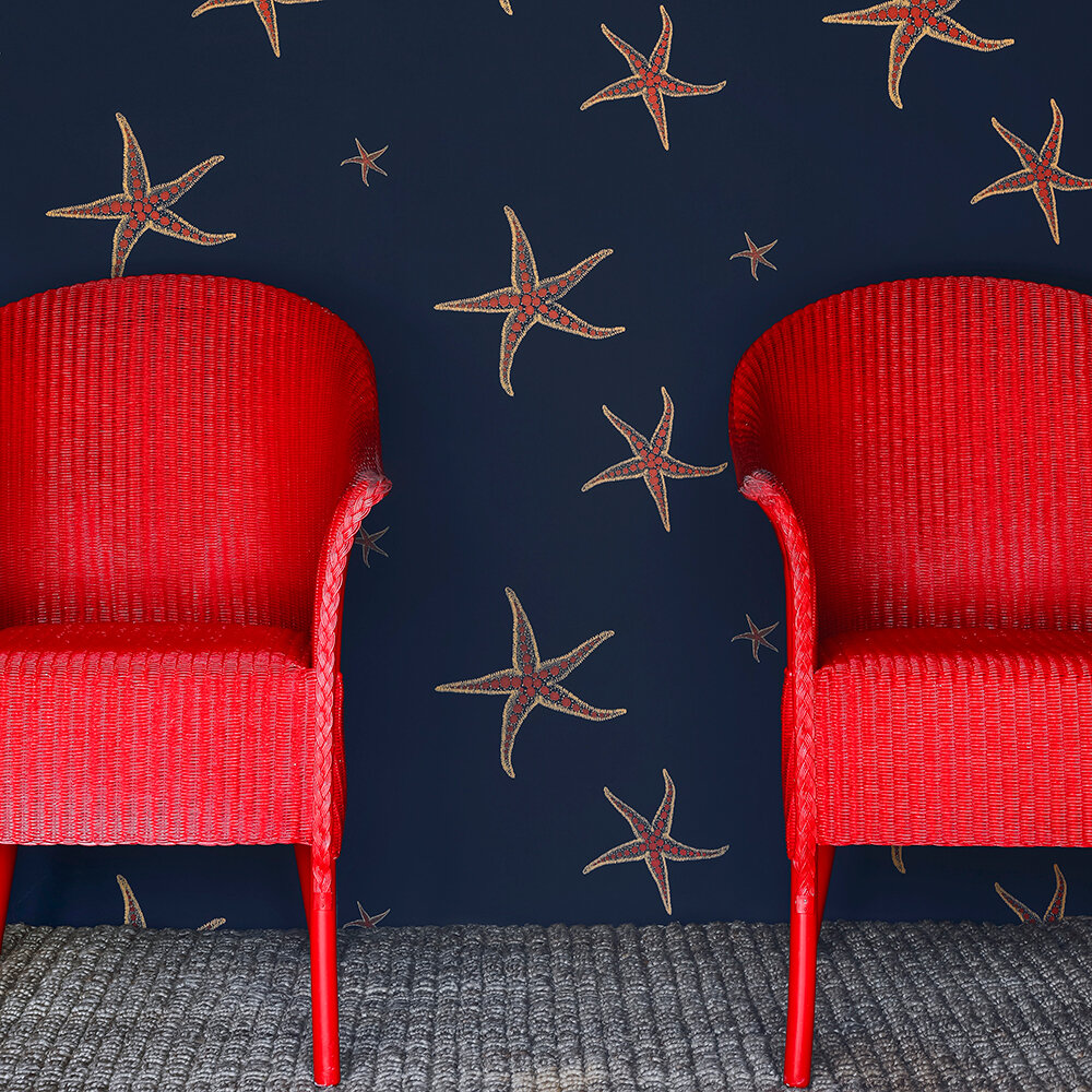 Starfish Wallpaper - Navy / Sienna - by Barneby Gates