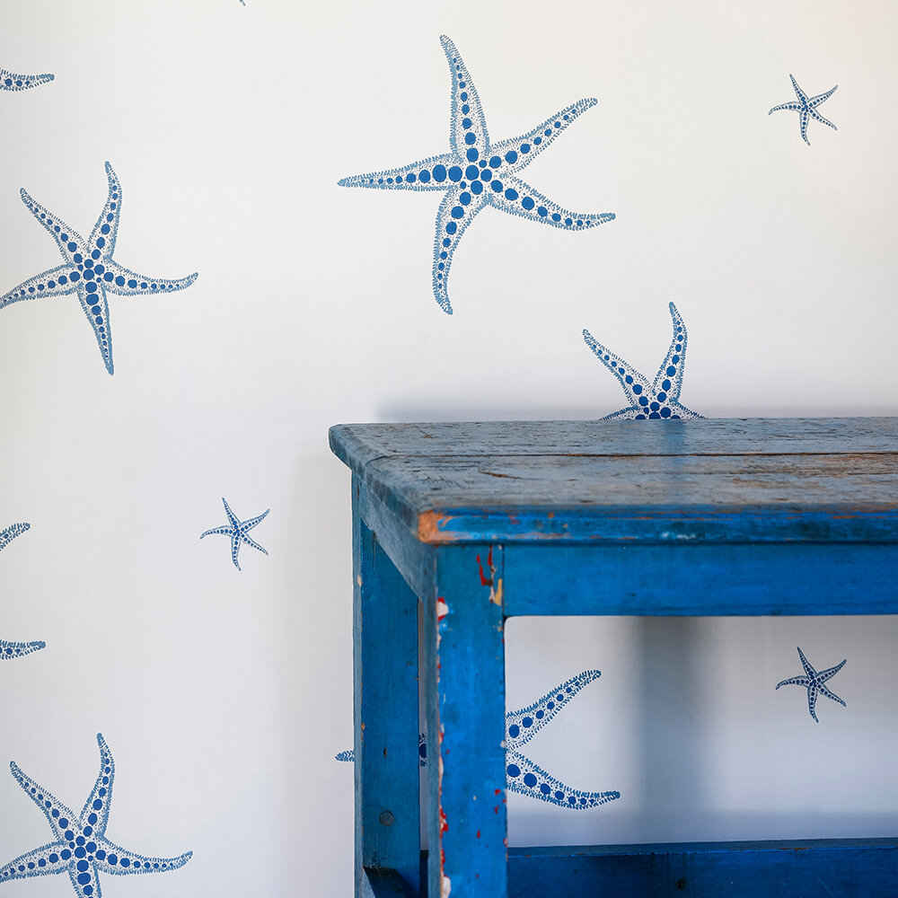 Starfish Wallpaper - Blue / Parchment - by Barneby Gates