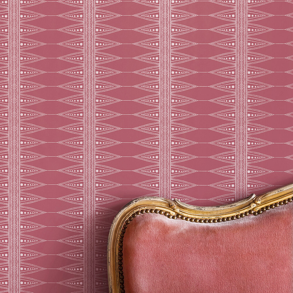 Indian Stripe Wallpaper - Snug Red - by Barneby Gates