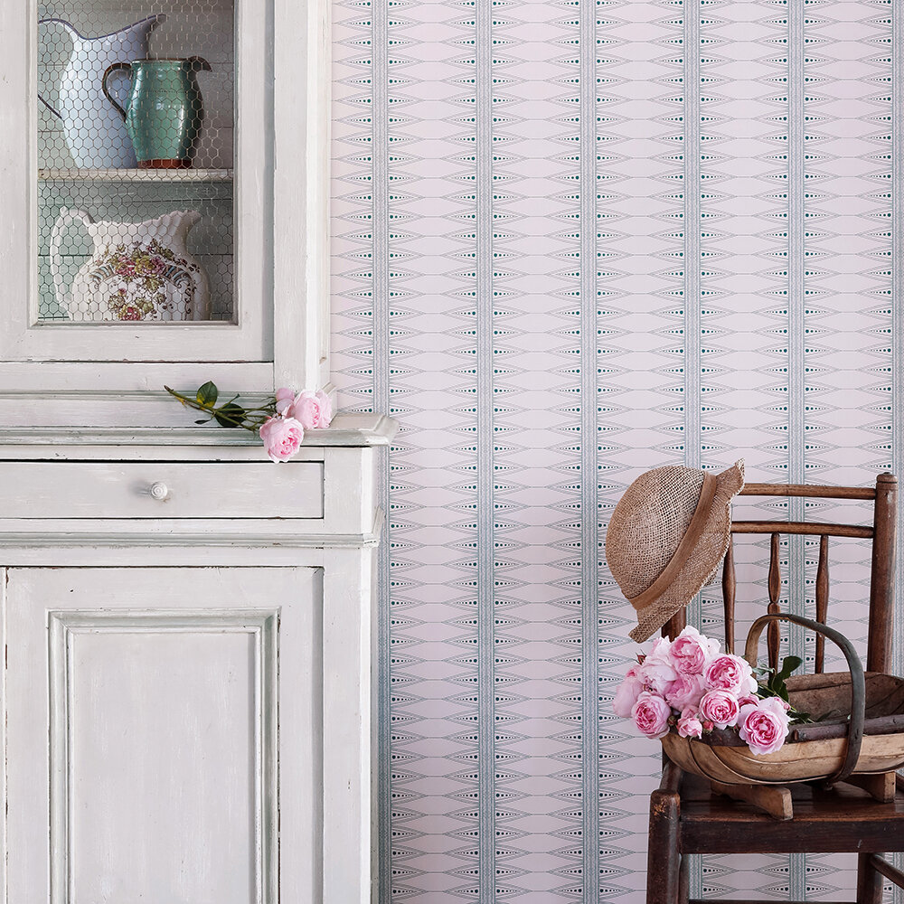 Indian Stripe Wallpaper - Pink / Teal - by Barneby Gates