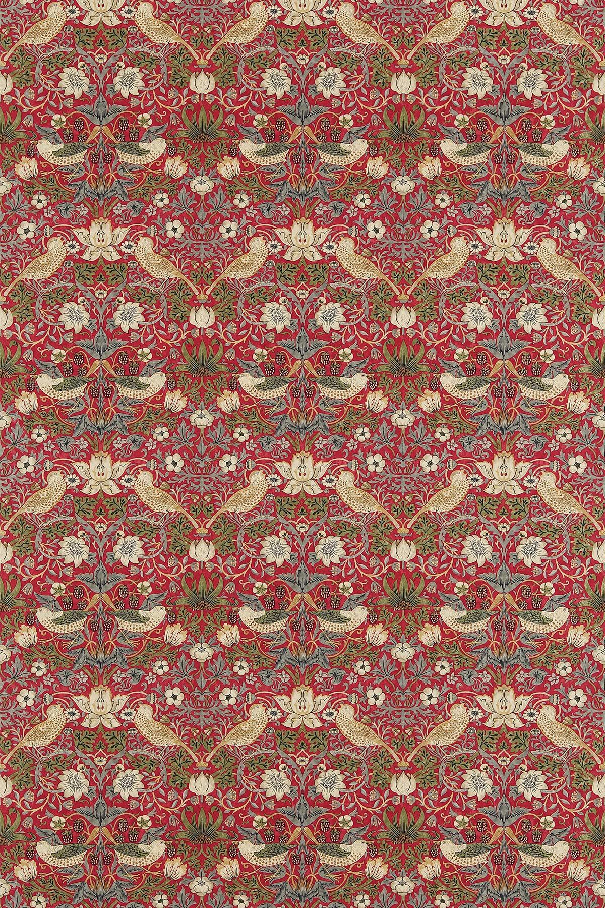 Strawberry Thief Fabric - Crimson / Slate - by Morris