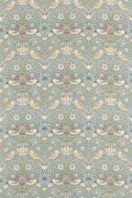Strawberry Thief Fabric - Slate / Vellum - by Morris