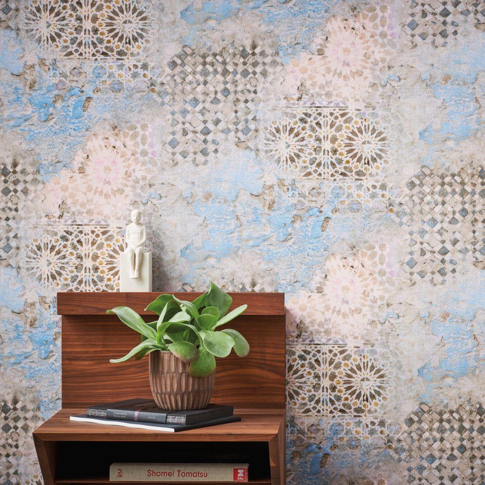 Rustic Mosaic Wallpaper - Aqua - by Metropolitan Stories