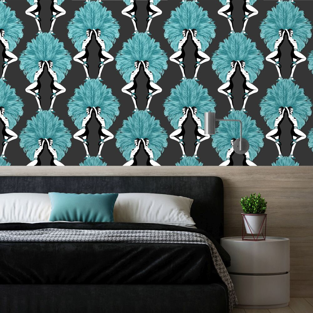 Showgirls  Wallpaper - Blue - by Graduate Collection