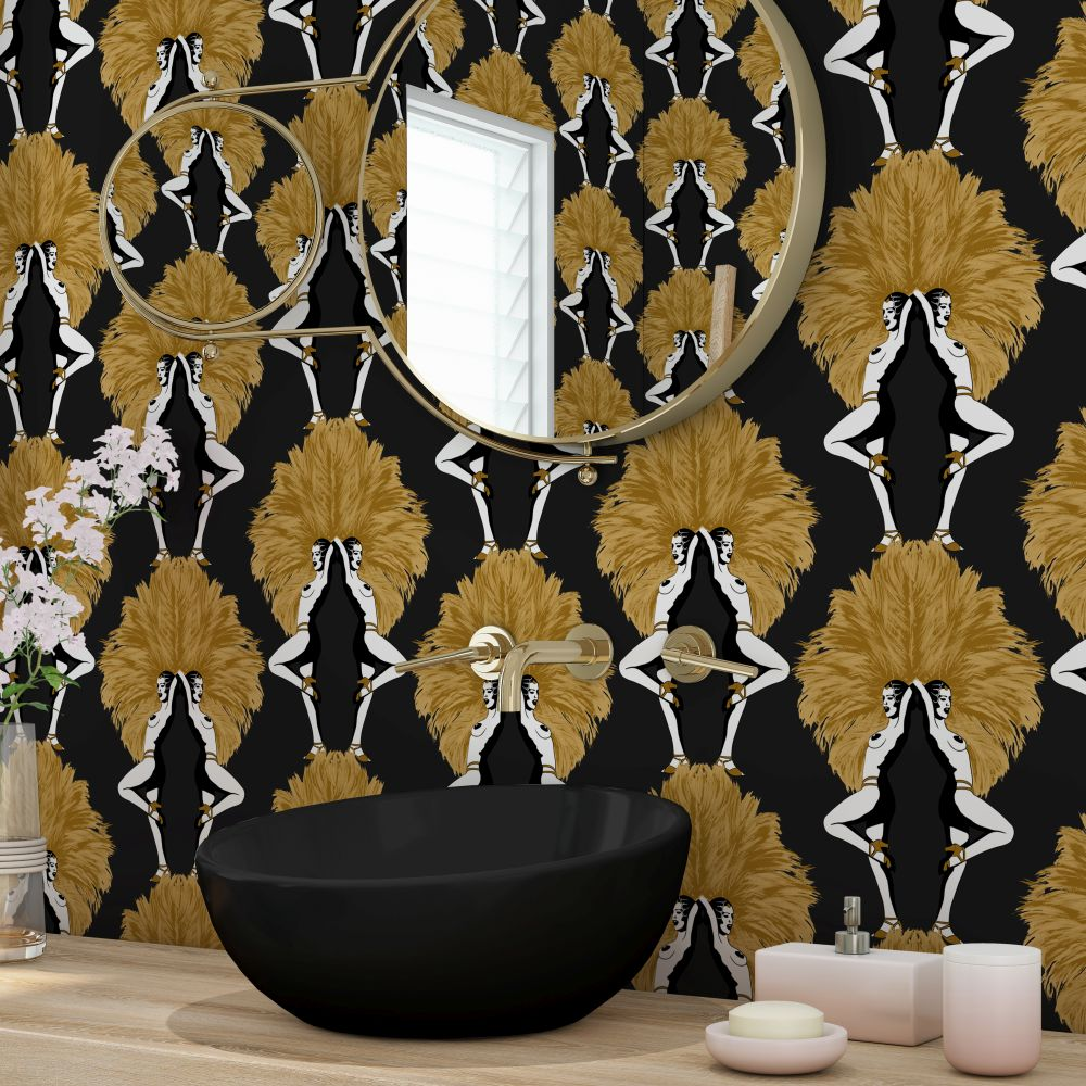 Showgirls Wallpaper - Black / Mustard - by Graduate Collection