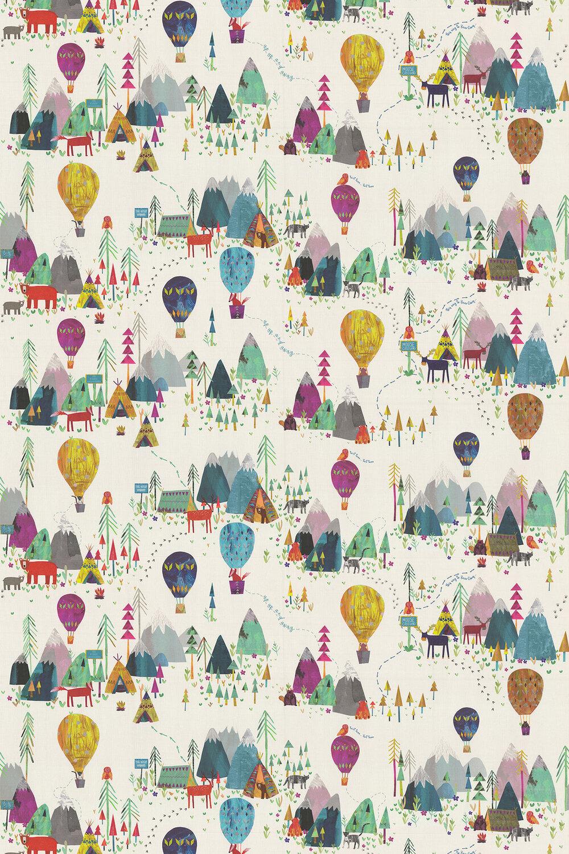 Away We Go Fabric - Rainbow - by Prestigious