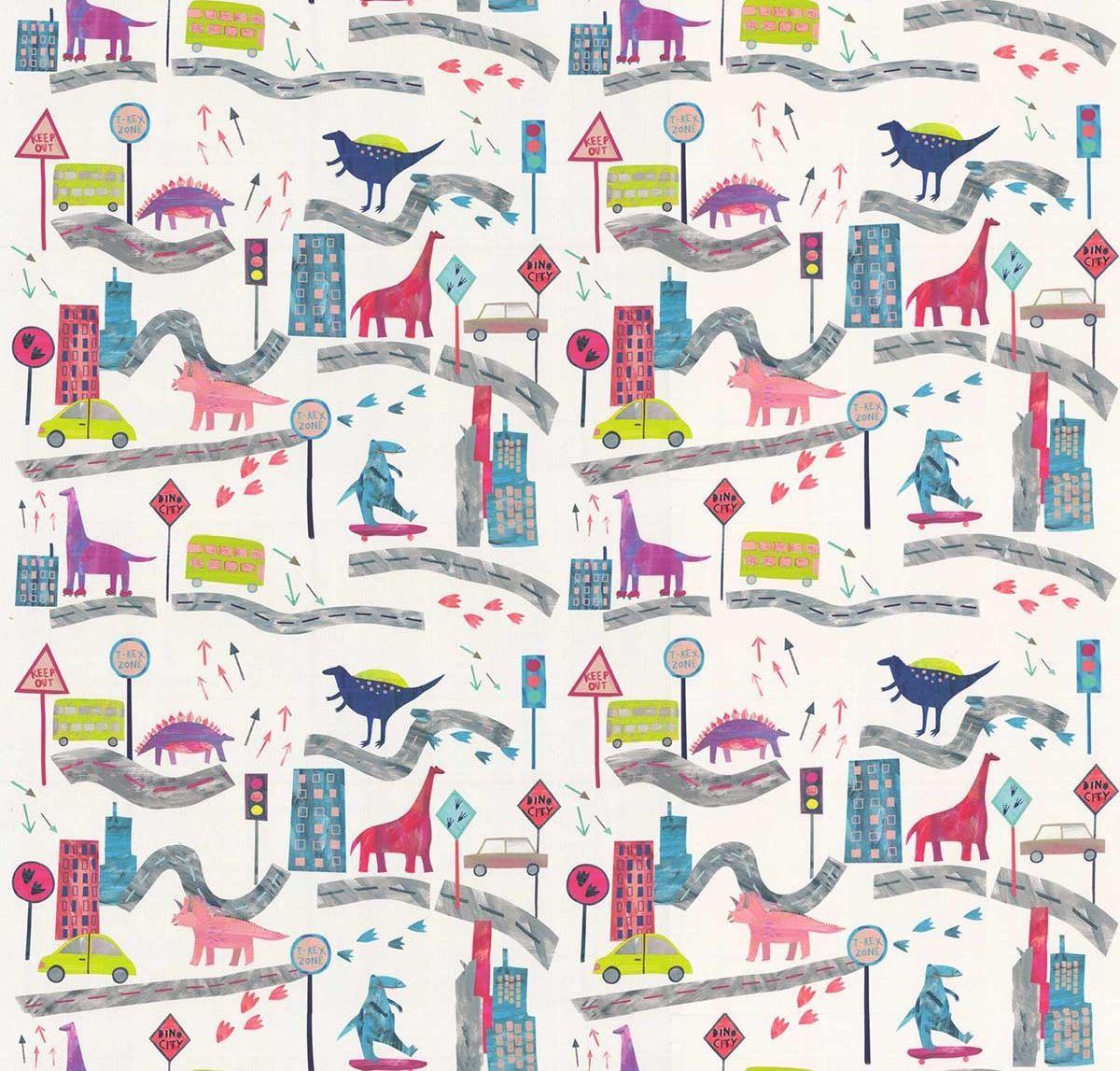 Dino City Fabric - Rainbow - by Prestigious