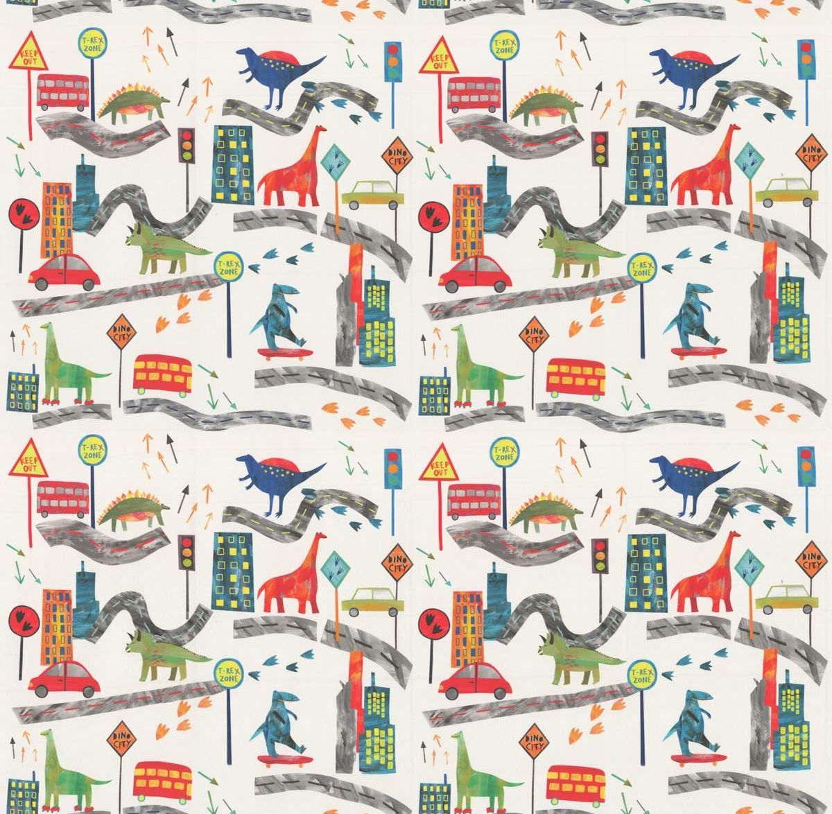 Dino City Fabric - Jungle - by Prestigious