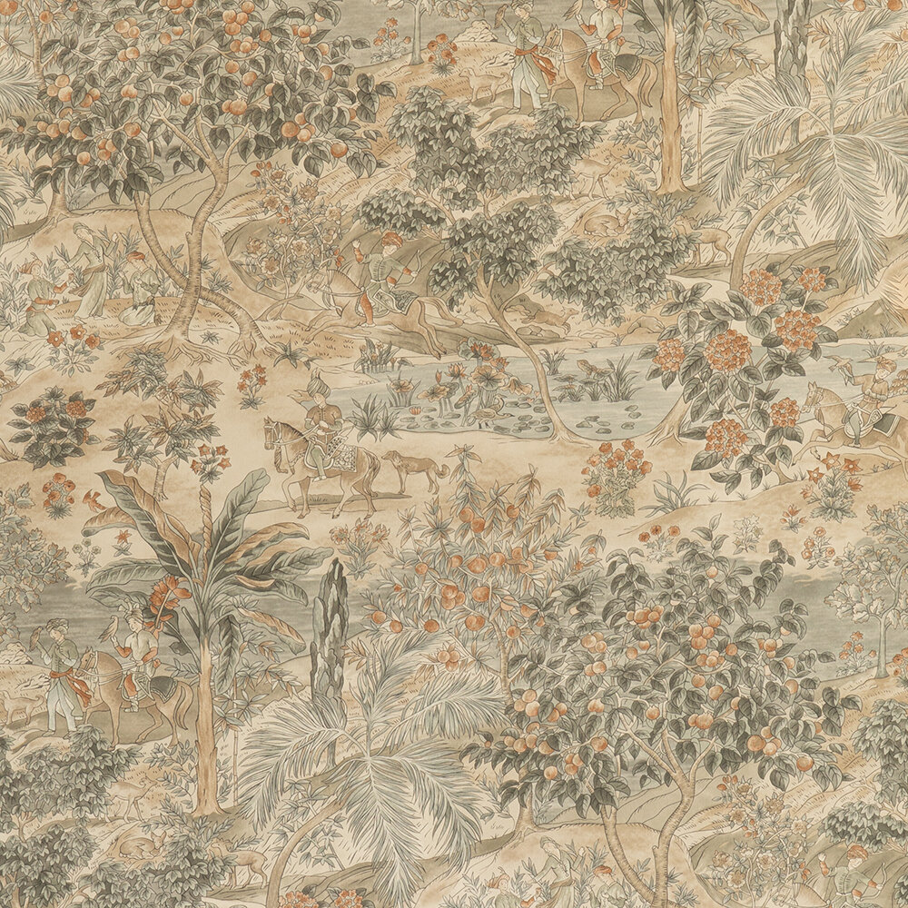 Ramayana Wallpaper - Woodsmoke - by G P & J Baker