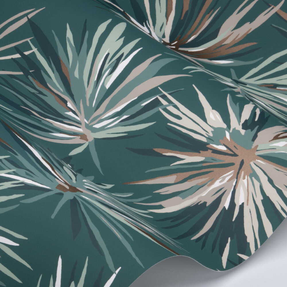 Aucuba Wallpaper - Forest / Copper - by Harlequin