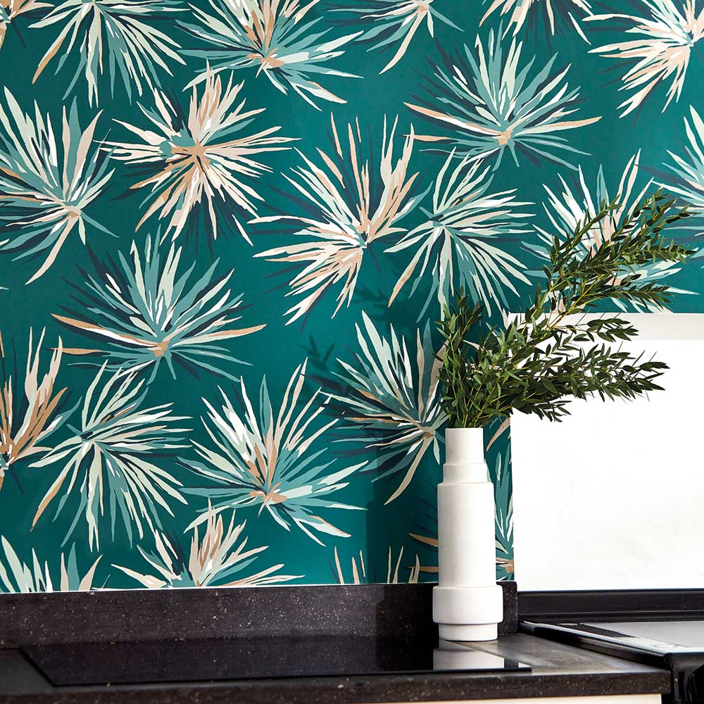 Aucuba Wallpaper - Forest / Copper - by Harlequin