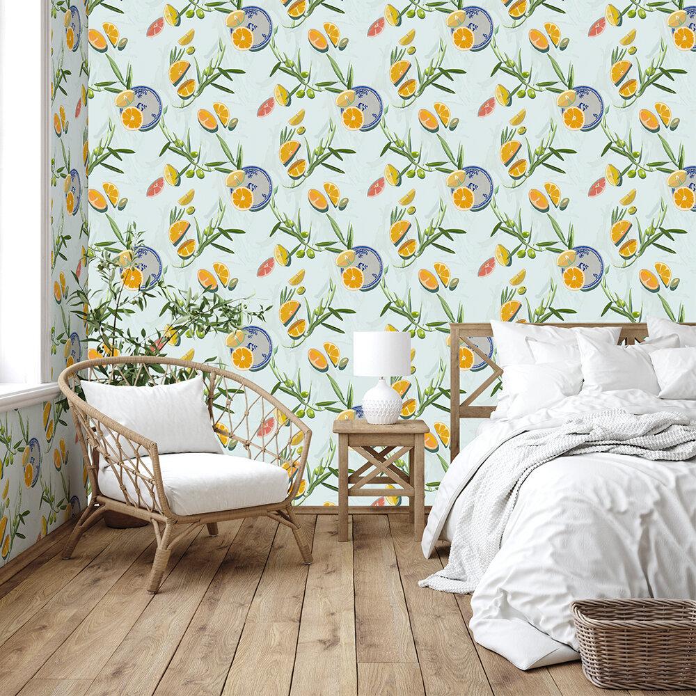 Bodegón Wallpaper - Aqua - by Coordonne