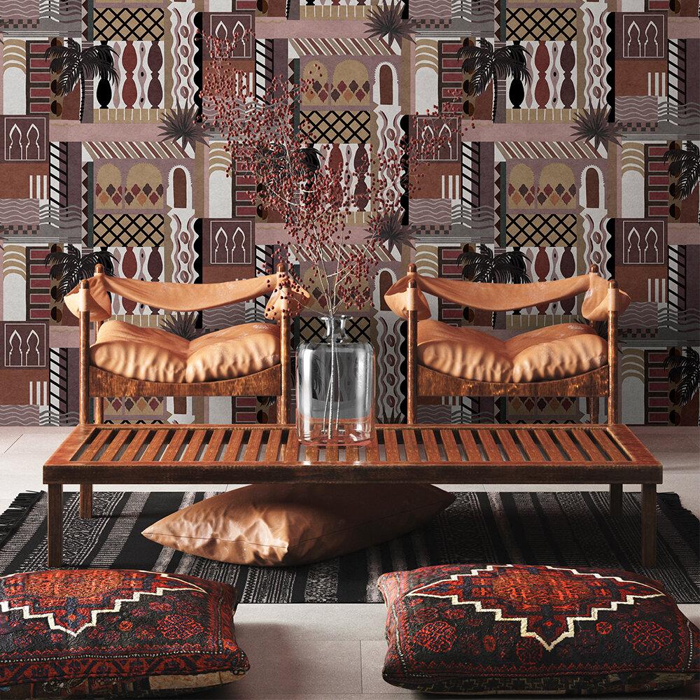 Majorelle Wallpaper - Terracotta - by Coordonne