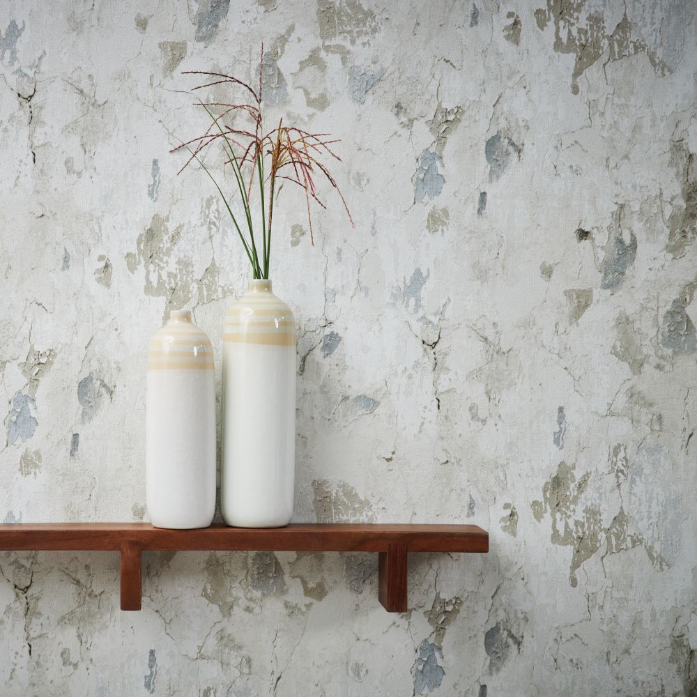 Rustic Wall Wallpaper - Light Grey - by Metropolitan Stories