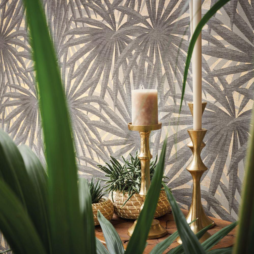 Palm Leaf Wallpaper - Beige - by Metropolitan Stories