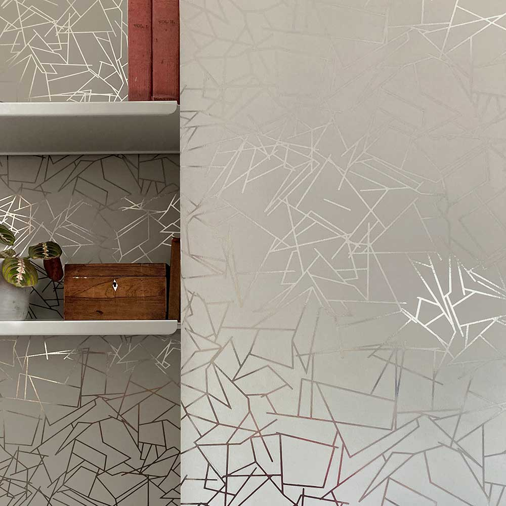 Angles  Wallpaper - Pewter / Limestone - by Erica Wakerly