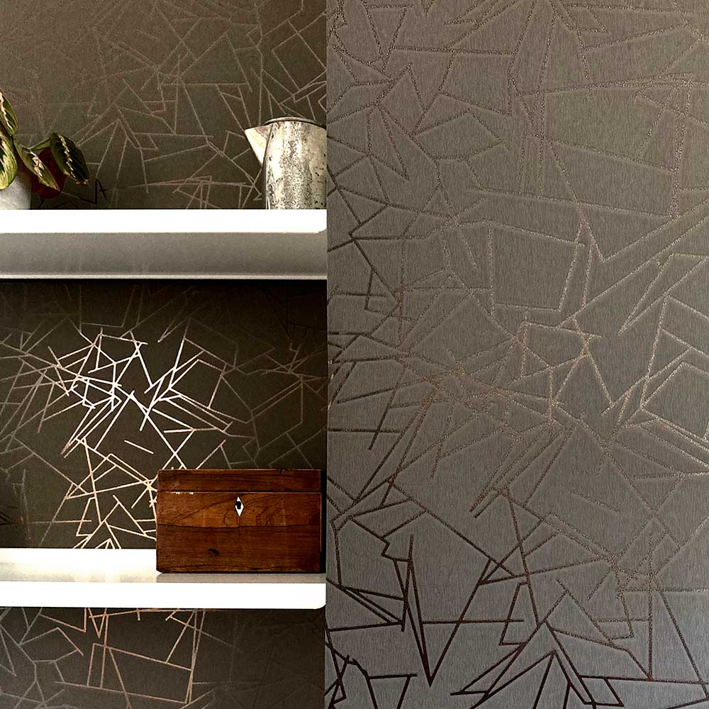 Angles  Wallpaper - Bronze / Cocoa Brown - by Erica Wakerly