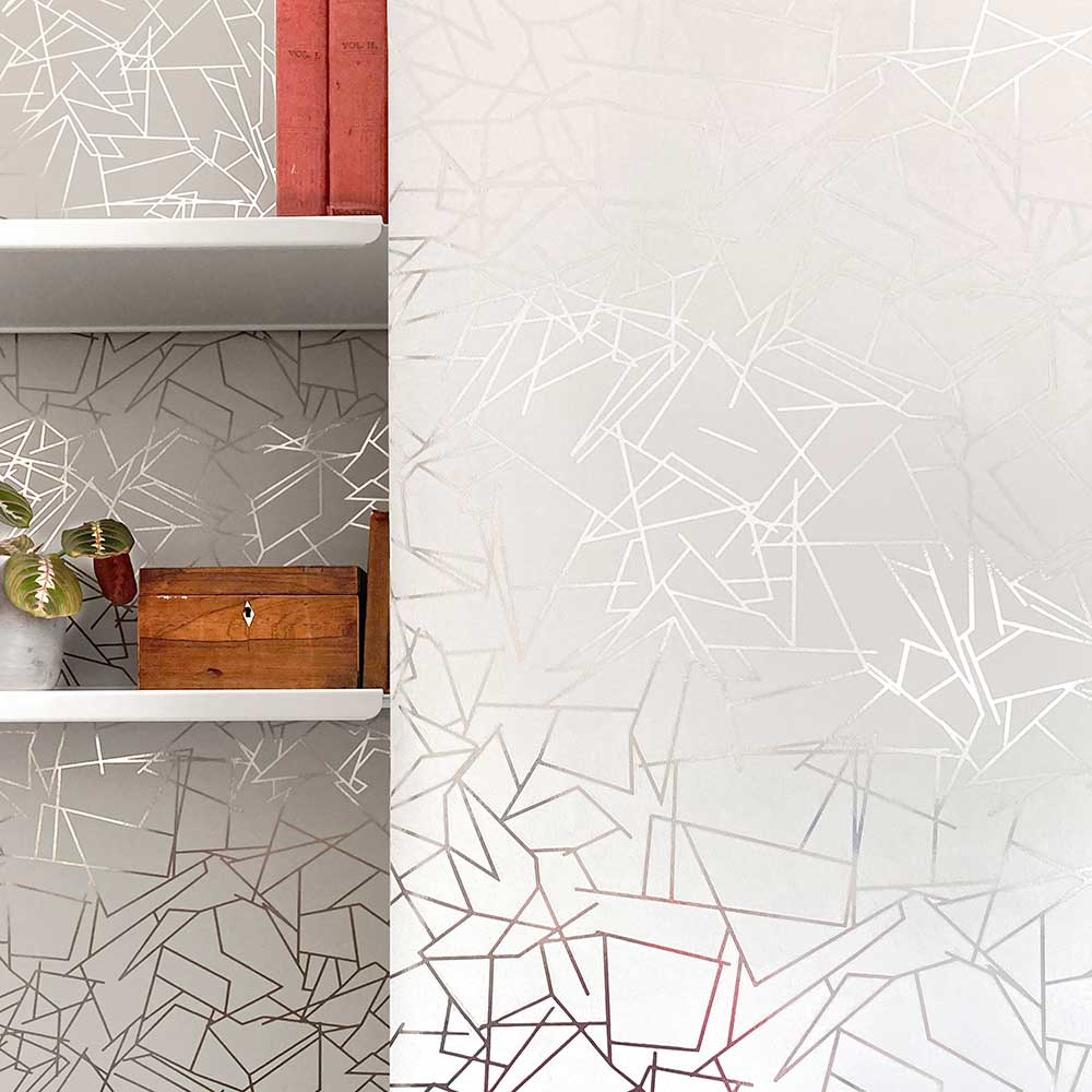 Angles  Wallpaper - Pewter / White Stone - by Erica Wakerly