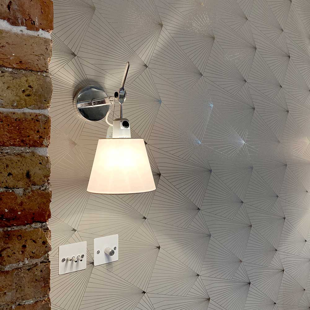 Fan Wallpaper - Pewter / Limestone - by Erica Wakerly