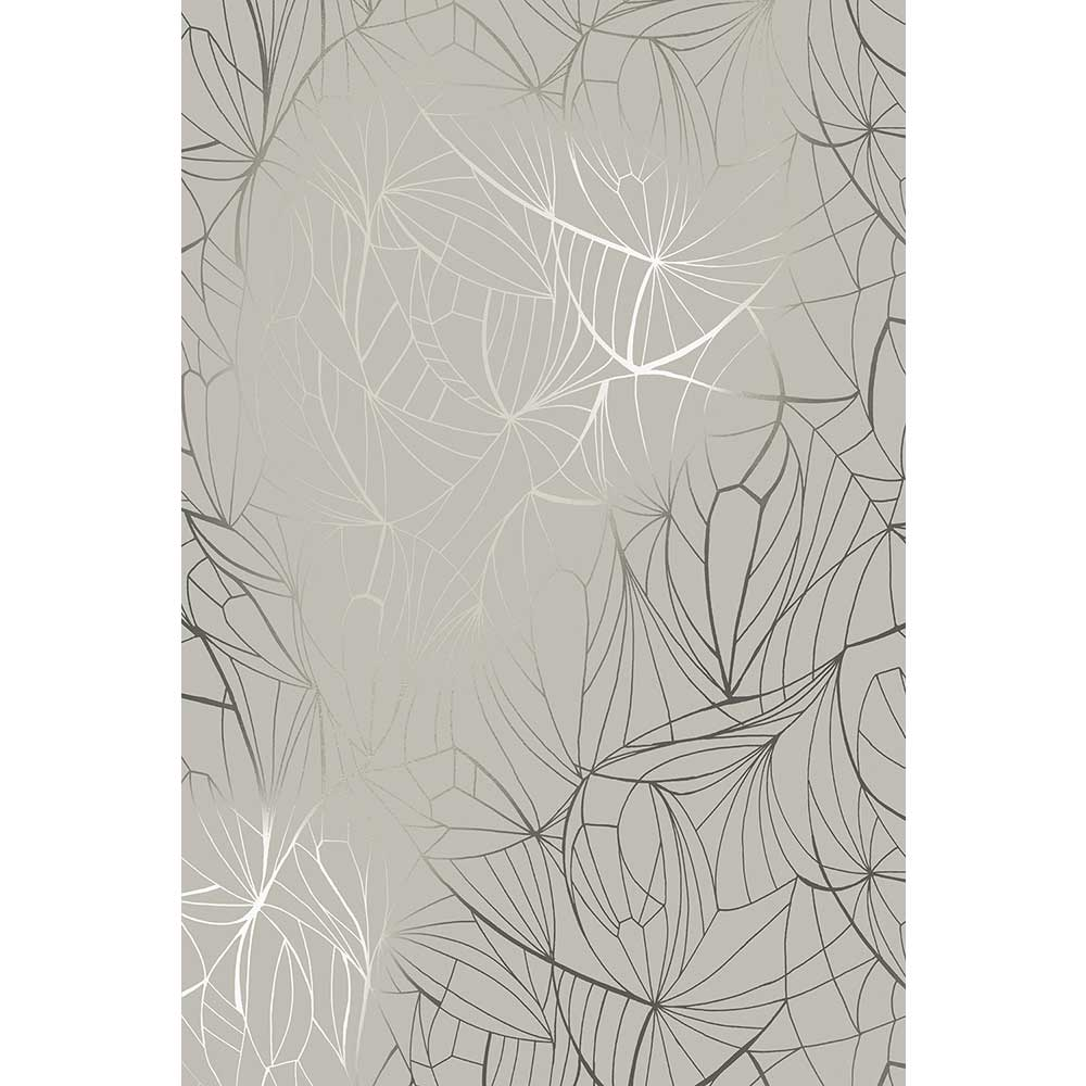 Leaf Wallpaper - Pewter / Limestone - by Erica Wakerly