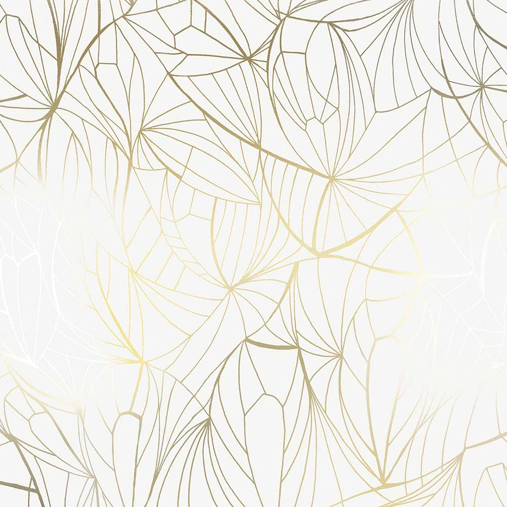 Leaf Wallpaper - Gold / White - by Erica Wakerly