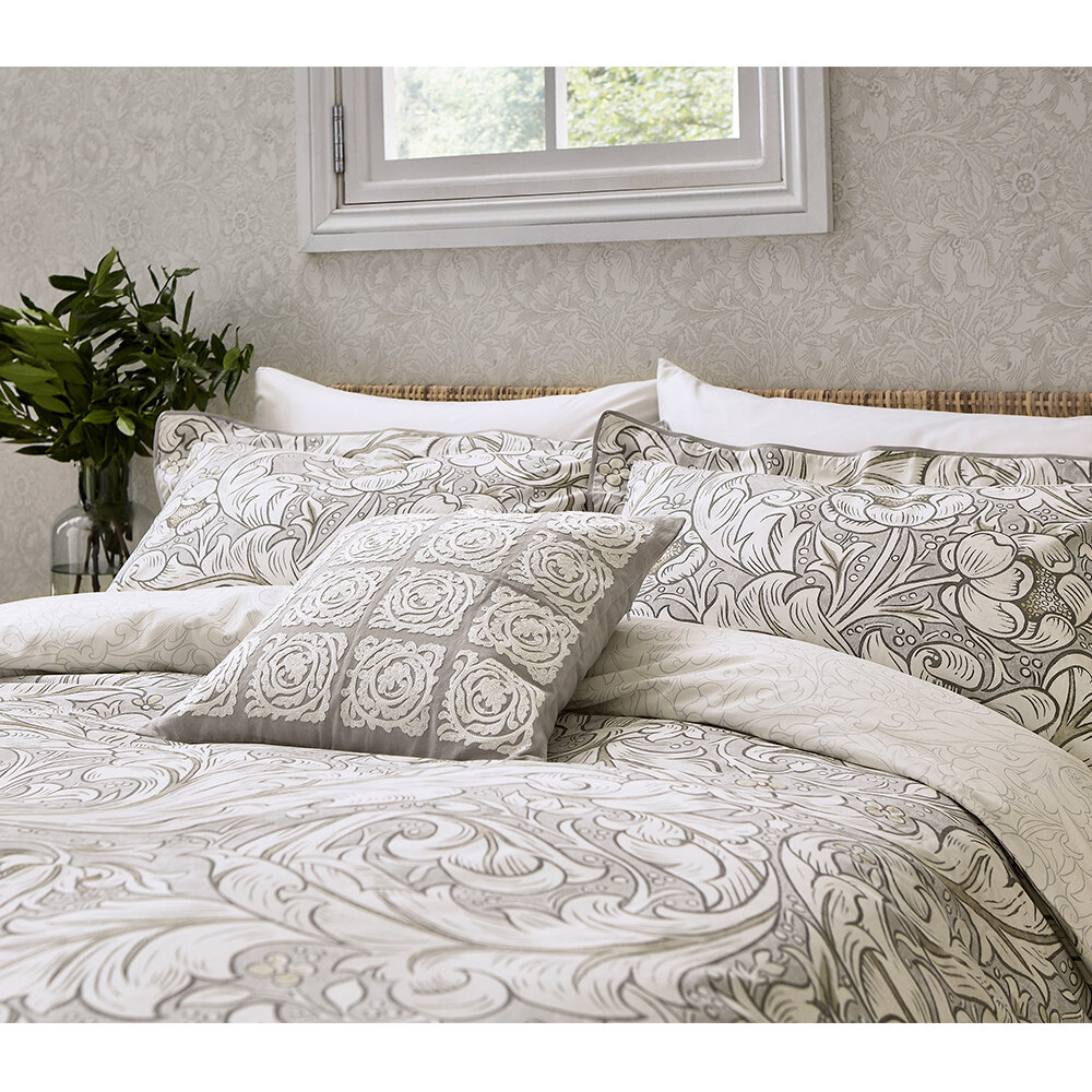 Pure Bachelor's Button Duvet Cover - Stone and Linen - by Morris