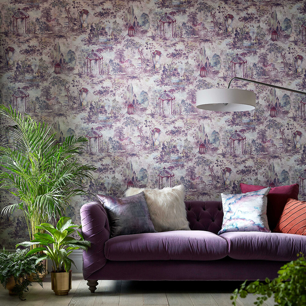 Pavilion Wallpaper - Rose Pink - by 1838 Wallcoverings
