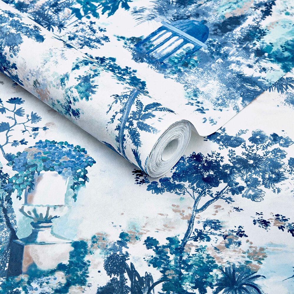 Pavilion Wallpaper - Lupin Blue - by 1838 Wallcoverings