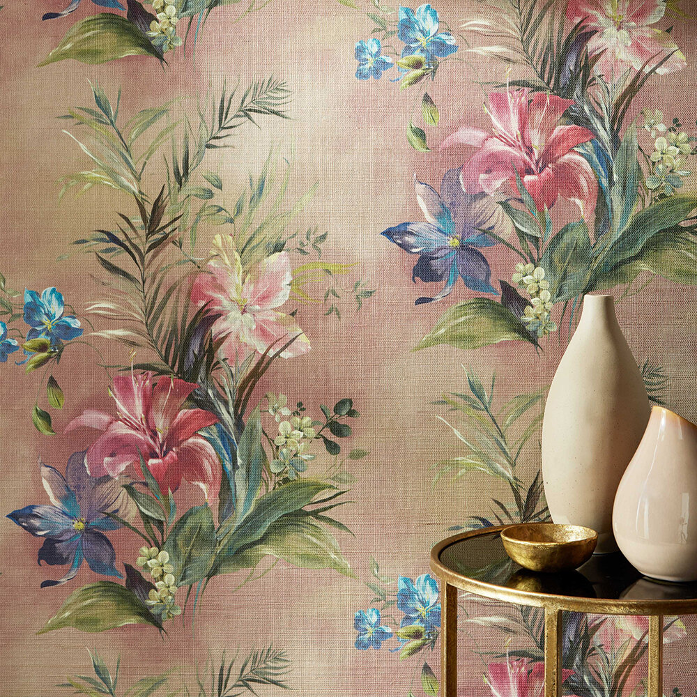 Lilliana Grasscloth Wallpaper - Blush Pink - by 1838 Wallcoverings