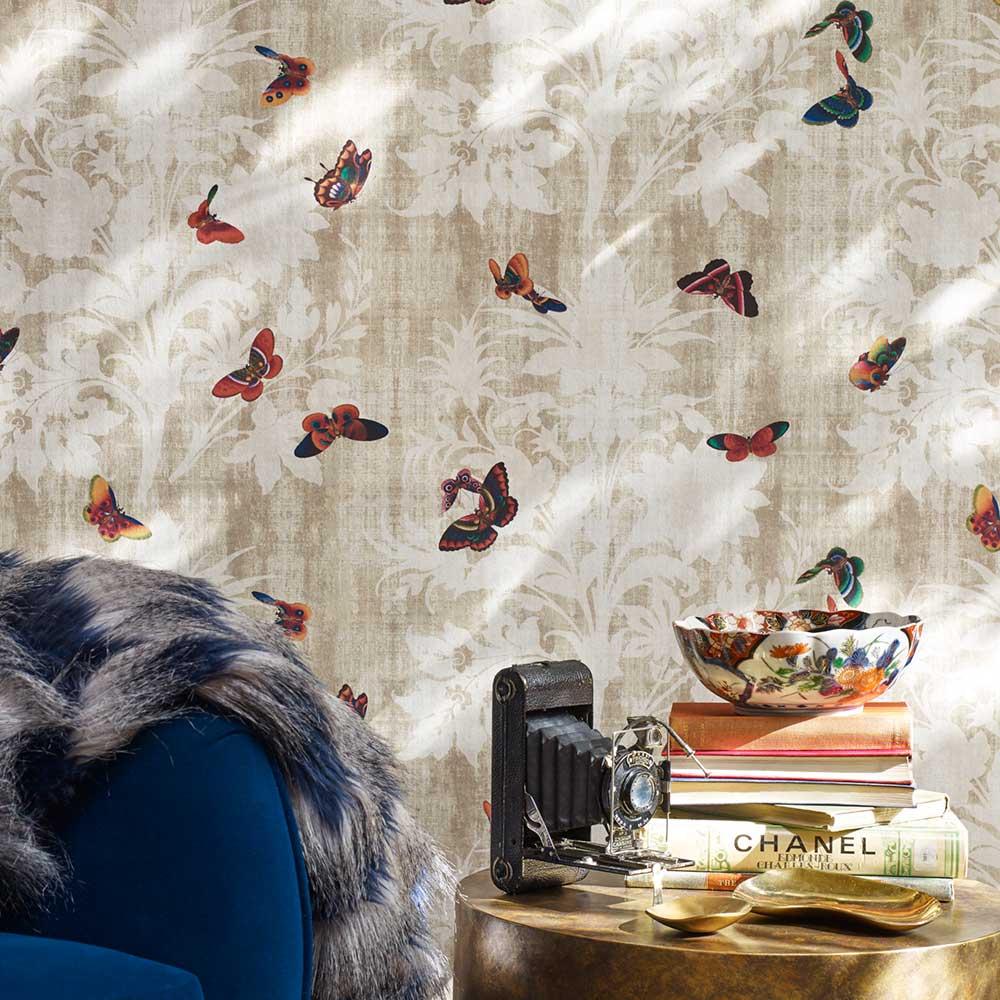 Lady Penrose Wallpaper - Taupe - by Elizabeth Ockford
