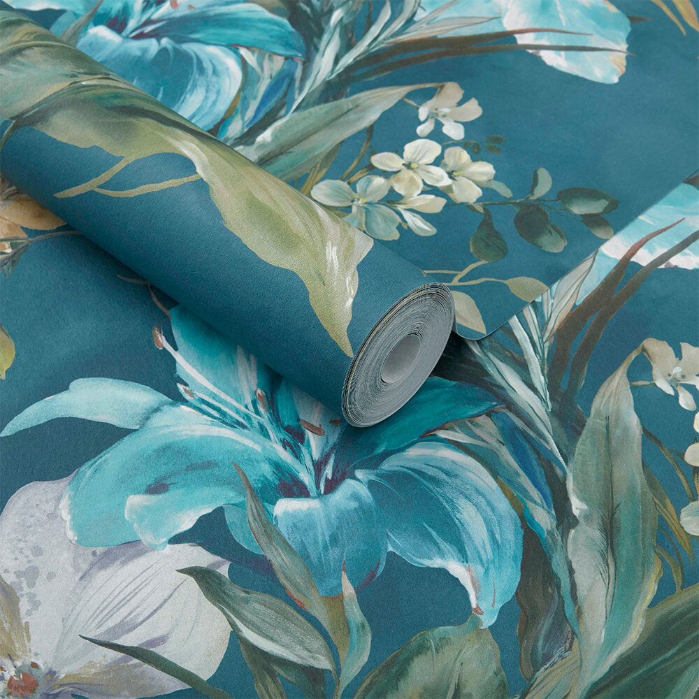 Lilliana Wallpaper - Peacock Blue - by 1838 Wallcoverings