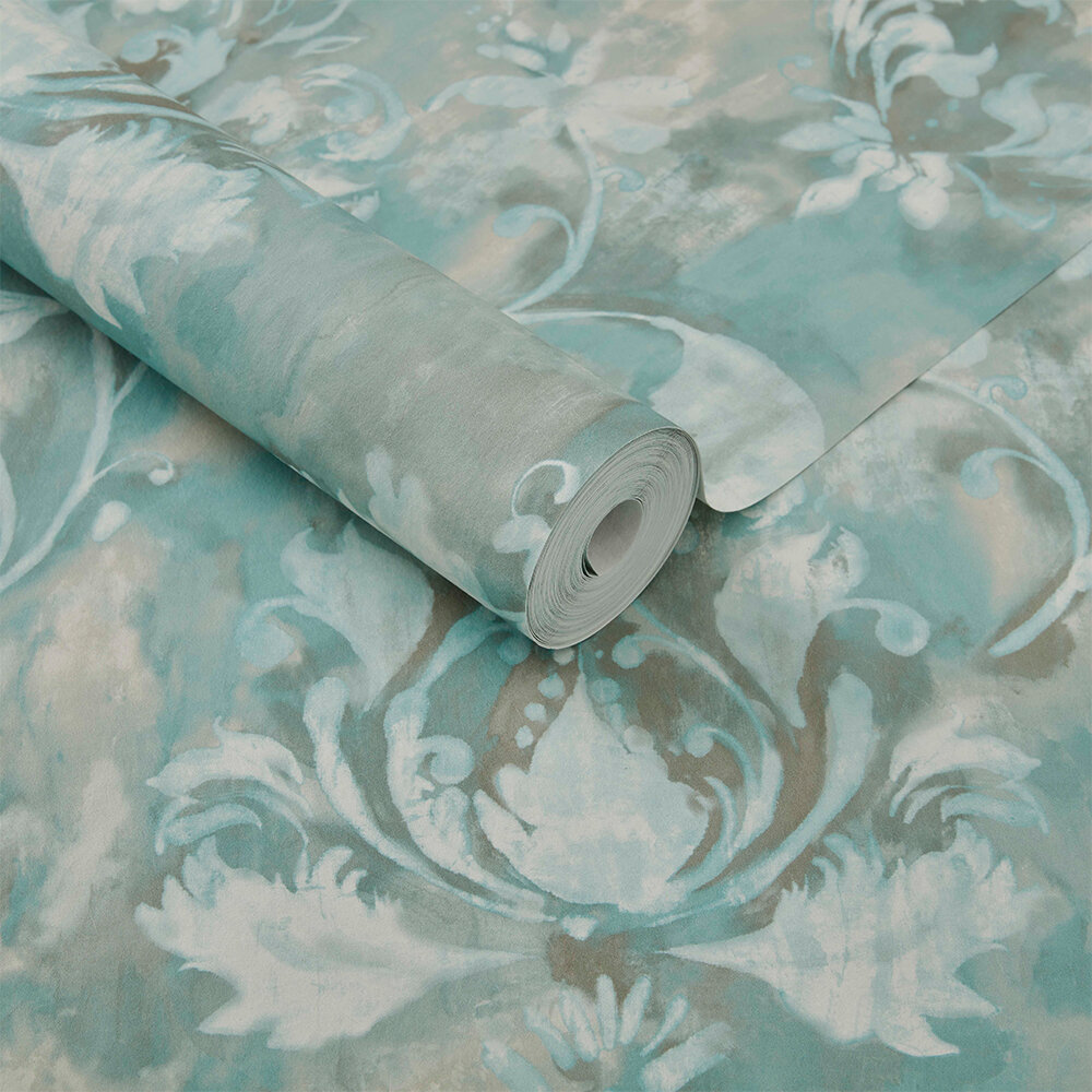 Ornamenta Wallpaper - Aqua - by 1838 Wallcoverings