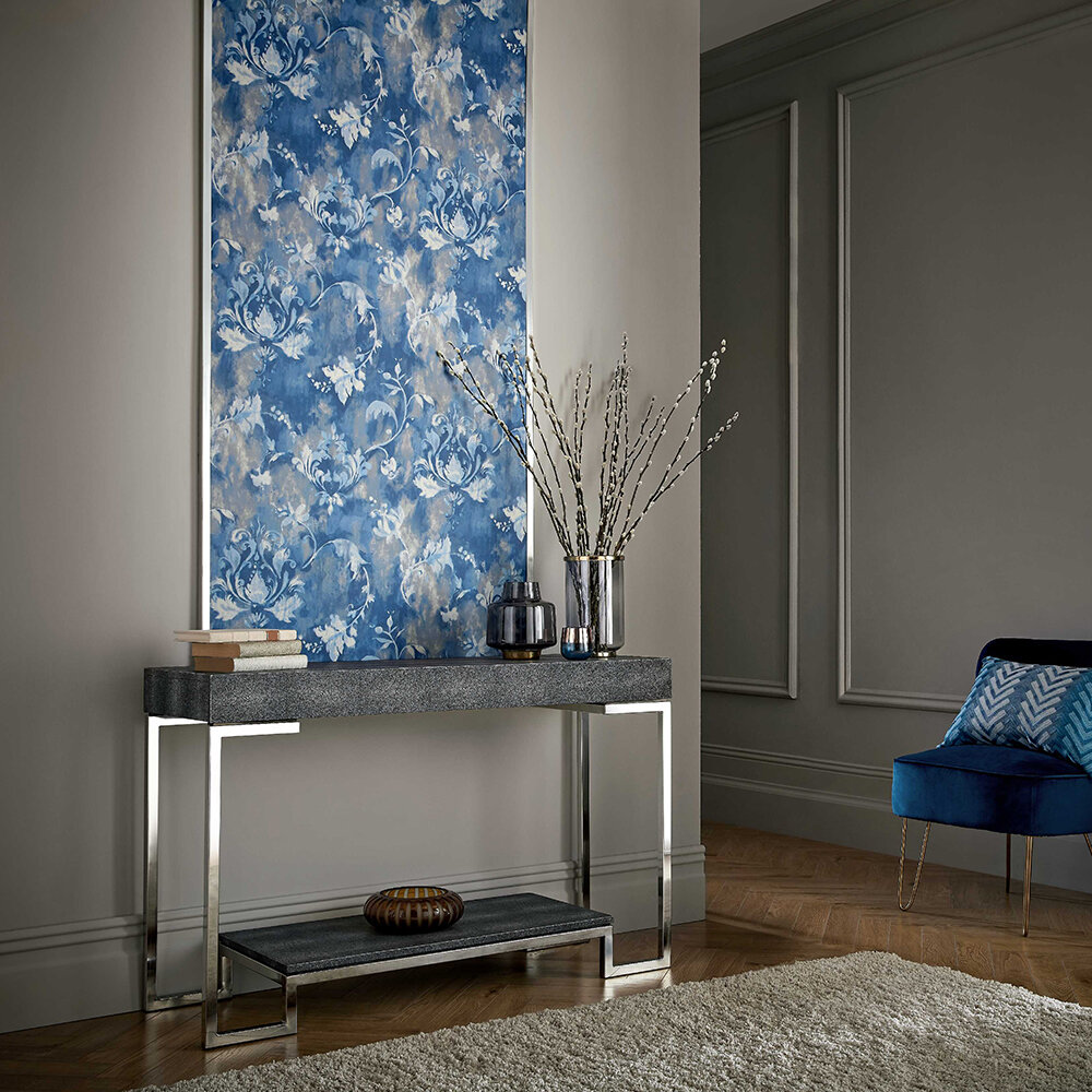 Ornamenta Wallpaper - Indigo - by 1838 Wallcoverings