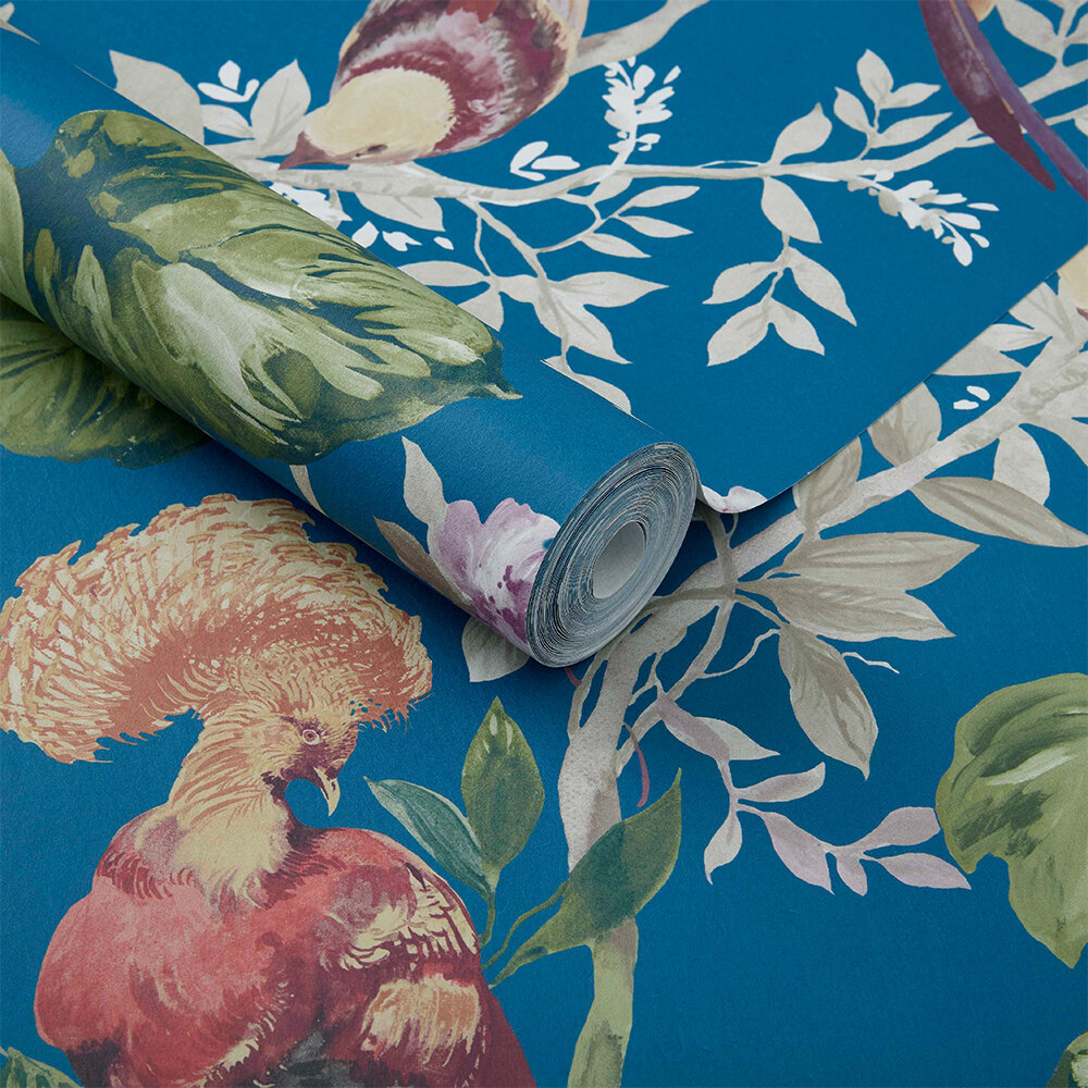 Bird Sonnet Wallpaper - Royal Blue - by 1838 Wallcoverings