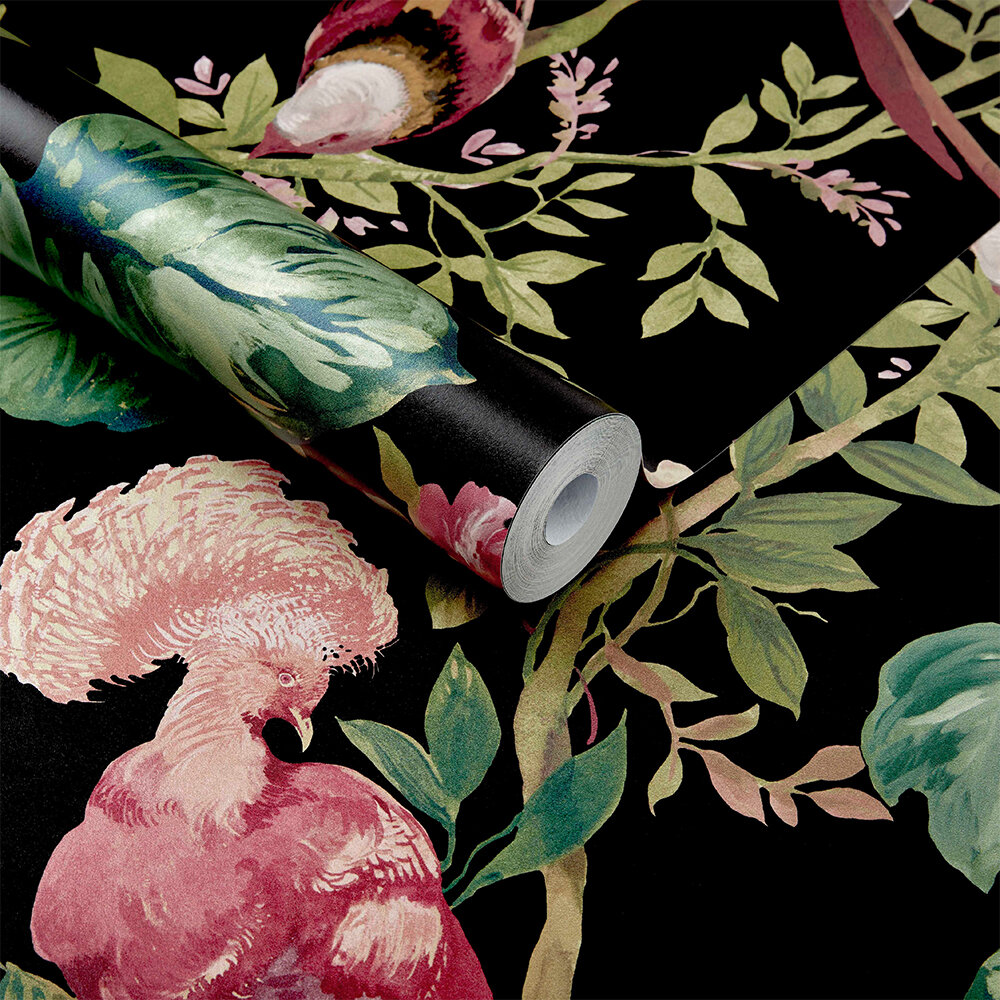 Bird Sonnet Wallpaper - Jet Black - by 1838 Wallcoverings