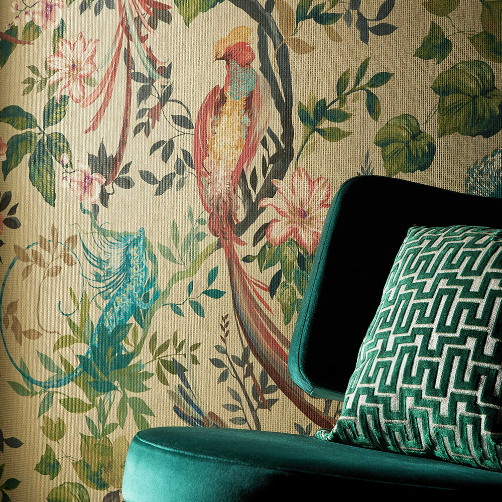 Bird Sonnet Mural - Lacquer - by 1838 Wallcoverings