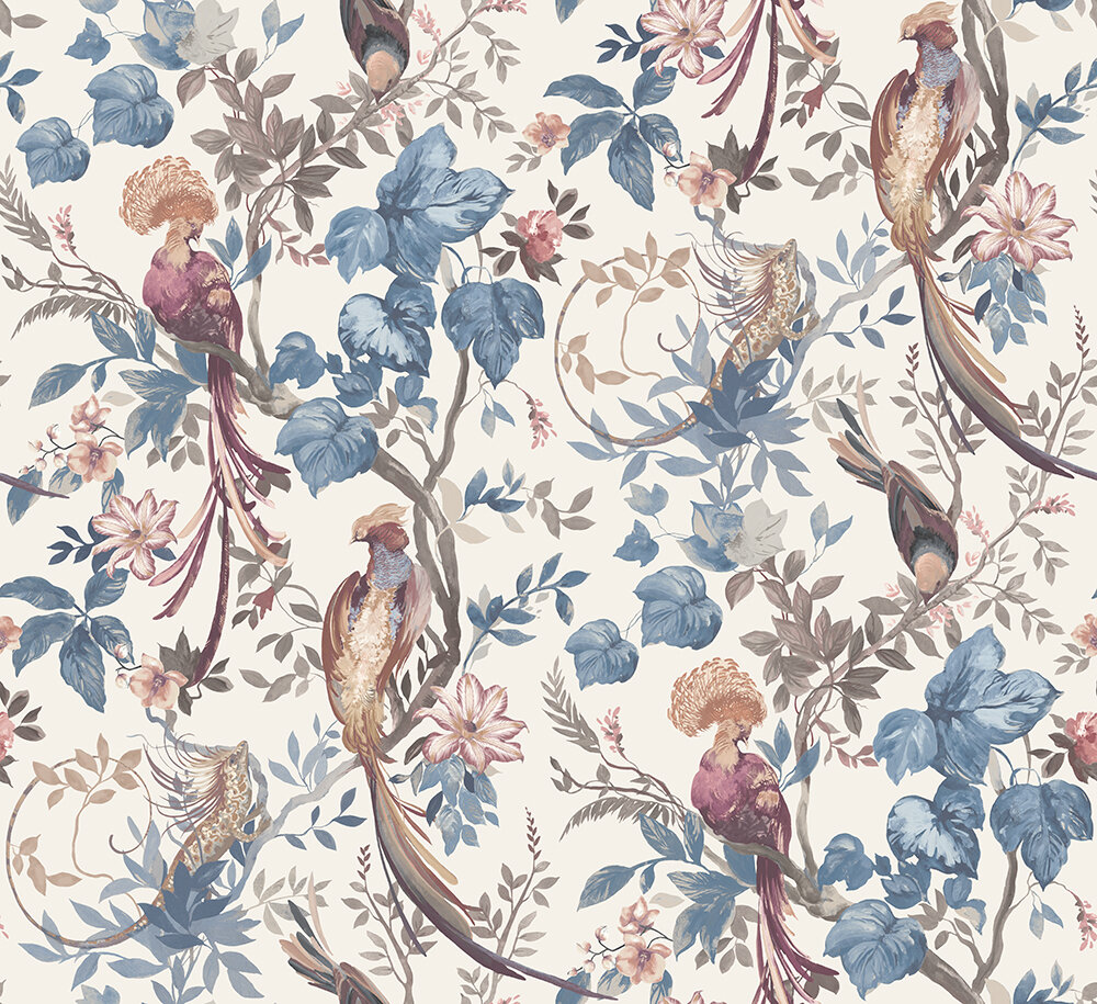 Bird Sonnet Mural - Chambray Blue - by 1838 Wallcoverings