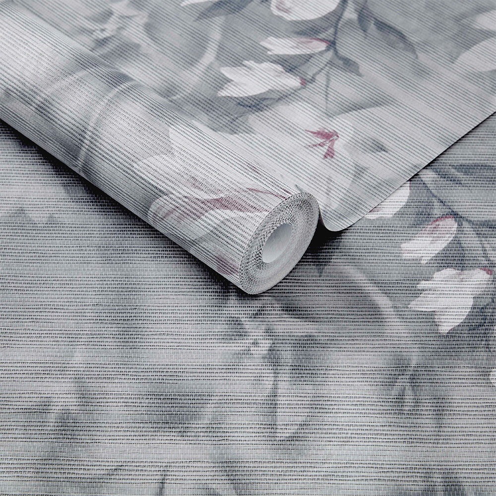Trailing Magnolia Mural - Mist Grey - by 1838 Wallcoverings