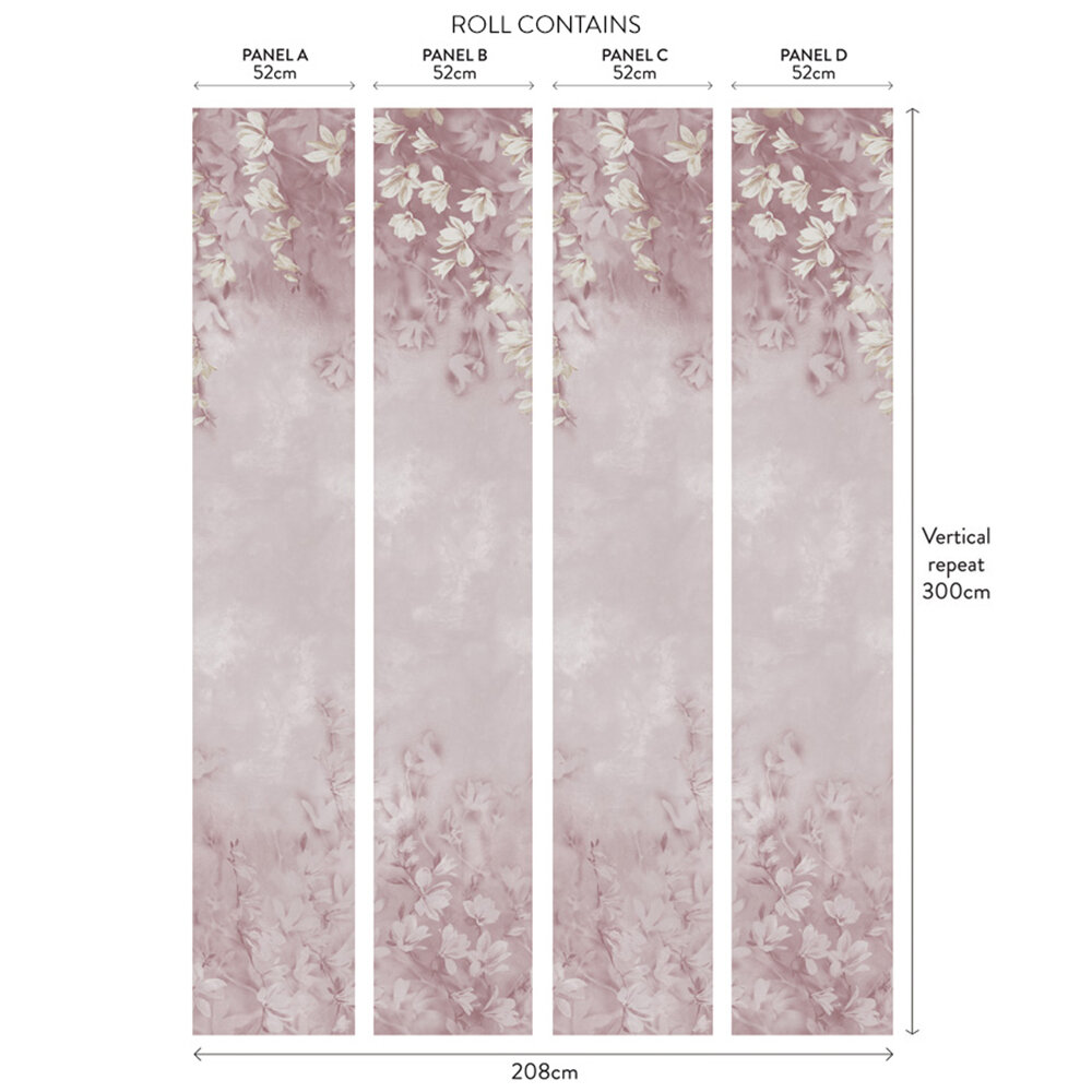 Trailing Magnolia Mural - Blush Pink - by 1838 Wallcoverings
