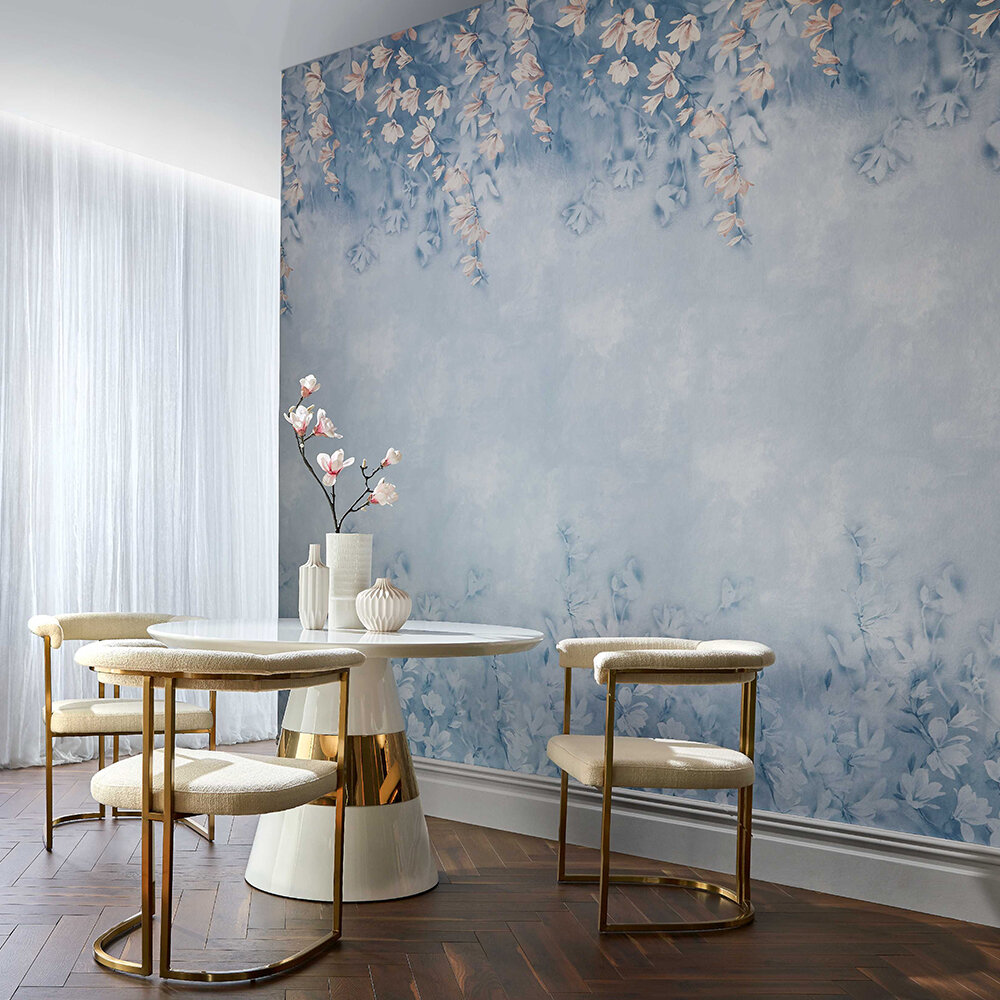 Trailing Magnolia Mural - Chambray Blue - by 1838 Wallcoverings