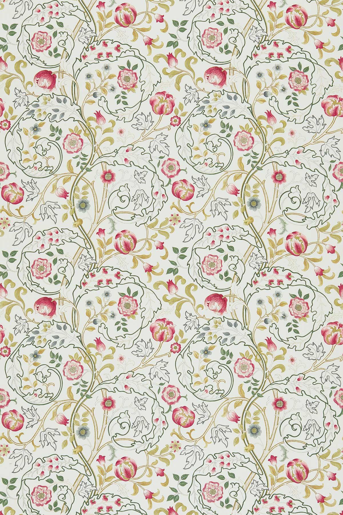 Mary Isobel Fabric - Pink / Ivory - by Morris
